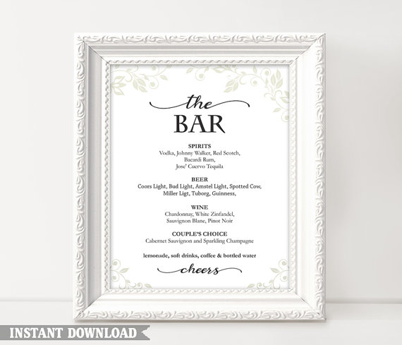 Mariage - Bar sign, Bar Menu Sign, Printable bar sign, Wedding Bar Sign, Custom signs, Drinks sign, wedding templates, Instant Download, Script Sign