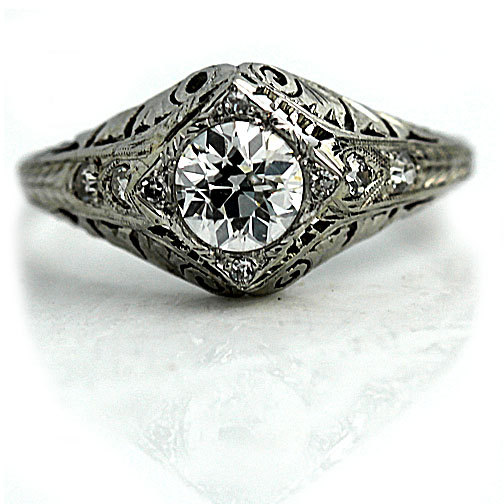 Mariage - Platinum Antique Engagement Ring Old European Cut Diamond .93ctw GIA Art Deco Engagement Ring GIA Filigree Antique Diamond Wedding Ring!