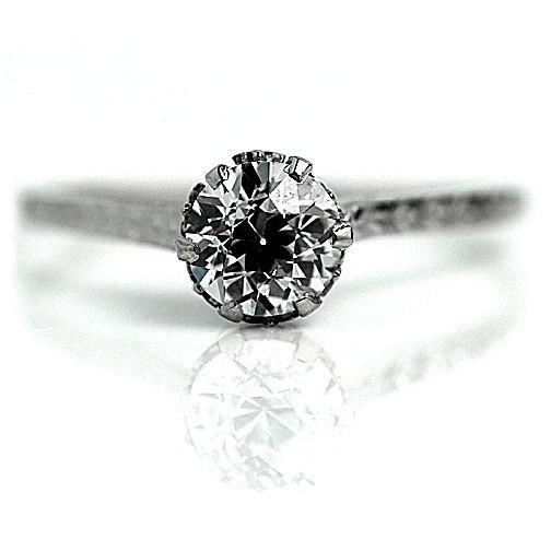 Mariage - Antique Solitaire Engagement Ring Art Deco Engagement Ring 14k White Gold H VS2 .70ctw Vintage Solitaire Engagement Ring Size 6.75!