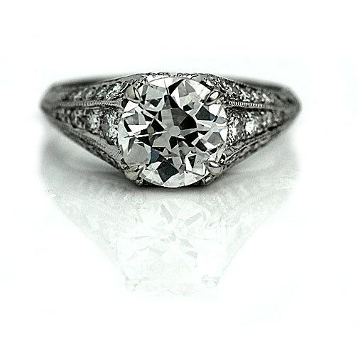 Wedding - Vintage Engagment Ring 3.46ctw Antique Engagement Ring GIA Vintage Diamond Ring Old European Cut Platinum Engagement Ring!