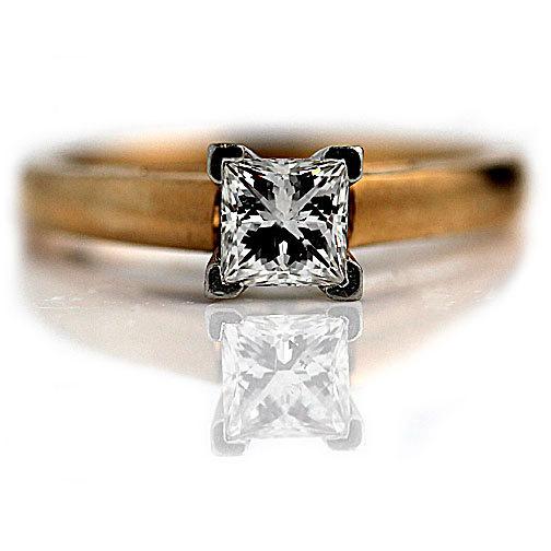 Mariage - Princess Cut Engagement Ring Signed .81ctw LEO CUT Princess Cut Diamond Ring Platinum 18K Rose Gold Solitaire Engagement Ring Size 6.75!