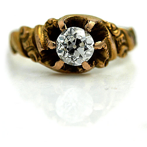 Mariage - Antique Victorian Rose Gold Engagement Ring Promise Ring GIA .49ctw Carat Old European Cut Diamond 18 Kt Rose Gold Ring Size 3!