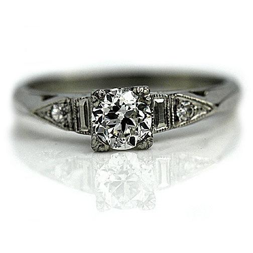 Mariage - Art Deco Engagement Ring 1930's .54ctw Antique  Engagement Ring Art Deco Diamond Ring Old European Cut Promise Ring Diamond Platinum!