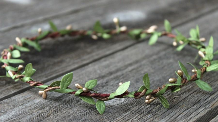 Mariage - Natural Wedding Hair Wreath, Gold Crown, Silk Leaf Garland, Green Crown, Gold Flower Crown, Headpiece, Silver Flower Crown, Greenery Wedding