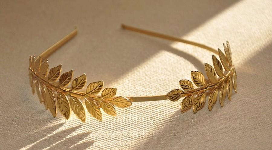 Mariage - Athena Double Leaves Headband, Goddess Laurel Wreath, Greek Crown, Bridal Headpiece, Bridesmaid, Gold Tiara, Bridal Hair Accessories