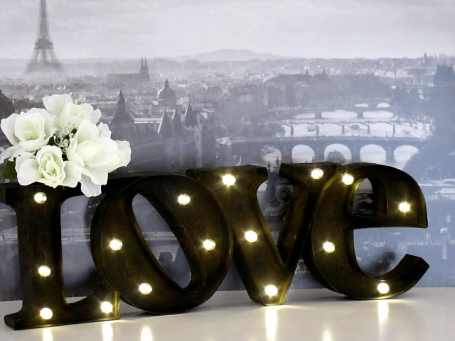 Wedding - SALE - Marquee Love Sign Iron Marquee Love Sign Photo Prop Rustic Wedding SignLighted Marquee Sign
