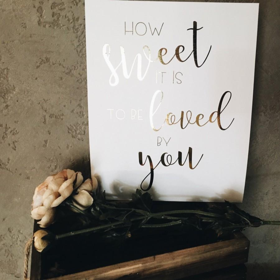 Mariage - Real Gold foil love sign// wedding print//candy bar sign/dessert bar sign