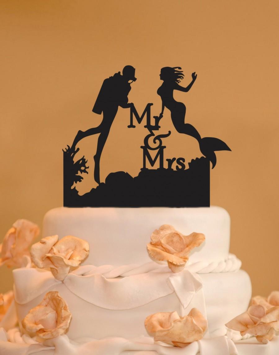 Mariage - Scuba Diver and Mermaid wedding cake topper - Mr. and Mrs. Wedding Cake Topper - Mermaid cake topper - Scuba diving cake topper