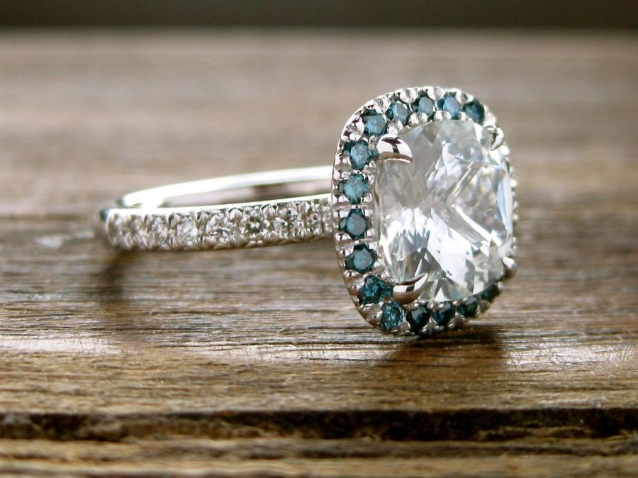 Mariage - Natural White Sapphire Engagement Ring in 14K White Gold with Teal Diamonds in Halo-Style Setting Size 6