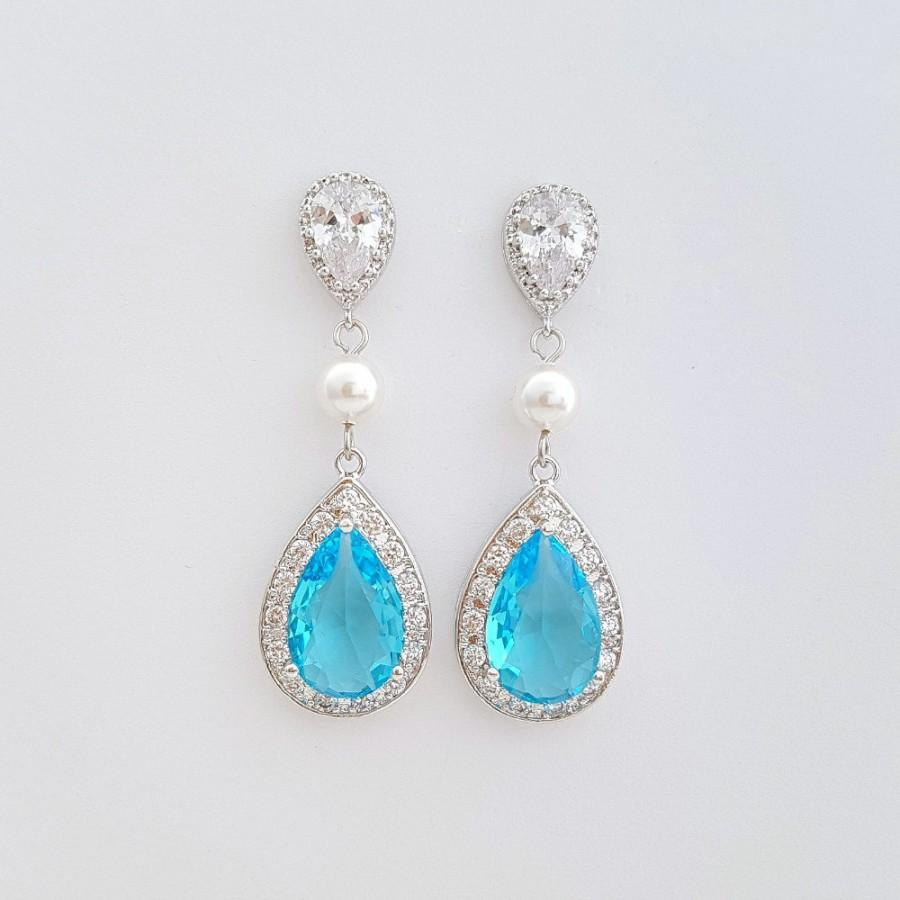 Wedding Earrings Blue Zircon Cubic Zirconia Bridesmaid Gift Blue