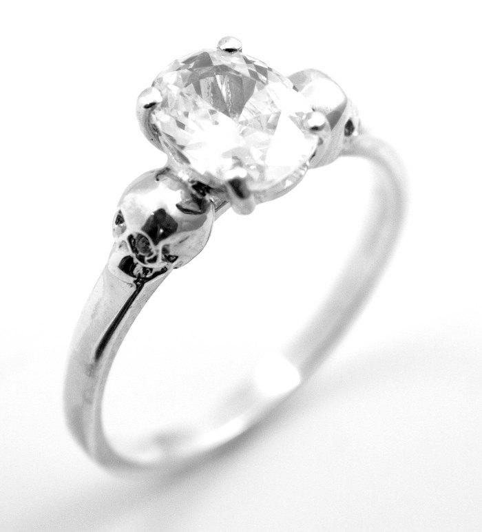 Mariage - Skull Ring Silver 1.4ct Diamond Oval Cut Hand Crafted Engagement Ring