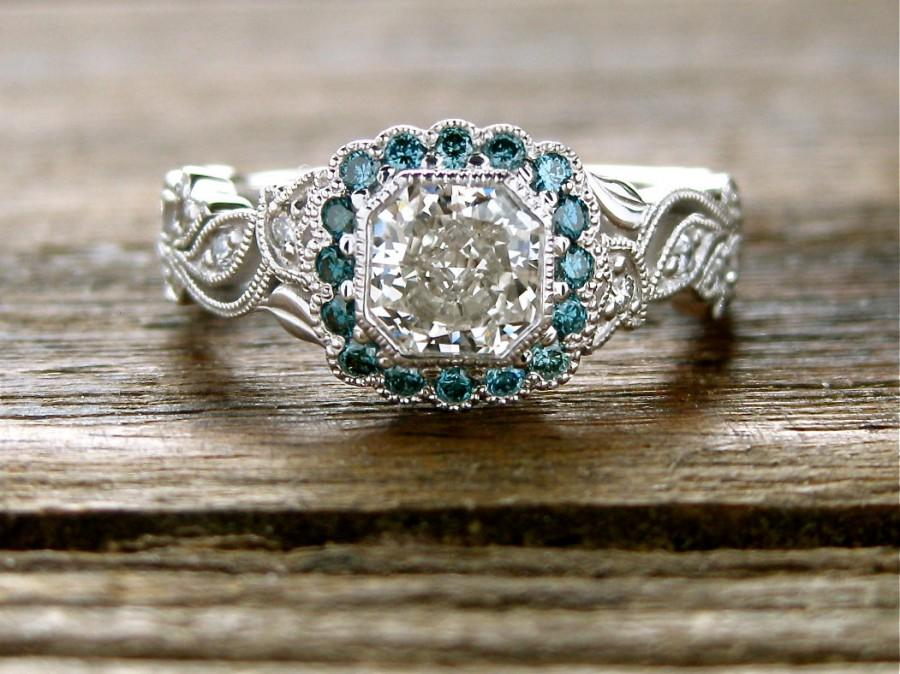 Mariage - Radiant Cut Diamond Engagement Ring in 14K White Gold with Teal Blue Diamonds in Flower Blossoms and Leafs on Vine Size 7