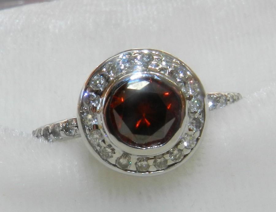 Wedding - Red Diamond Engagement Ring Vintage Engagement Ring 18K Half Ct Red Diamond Ring Halo Ring Diamond 18K White Gold engagement ring