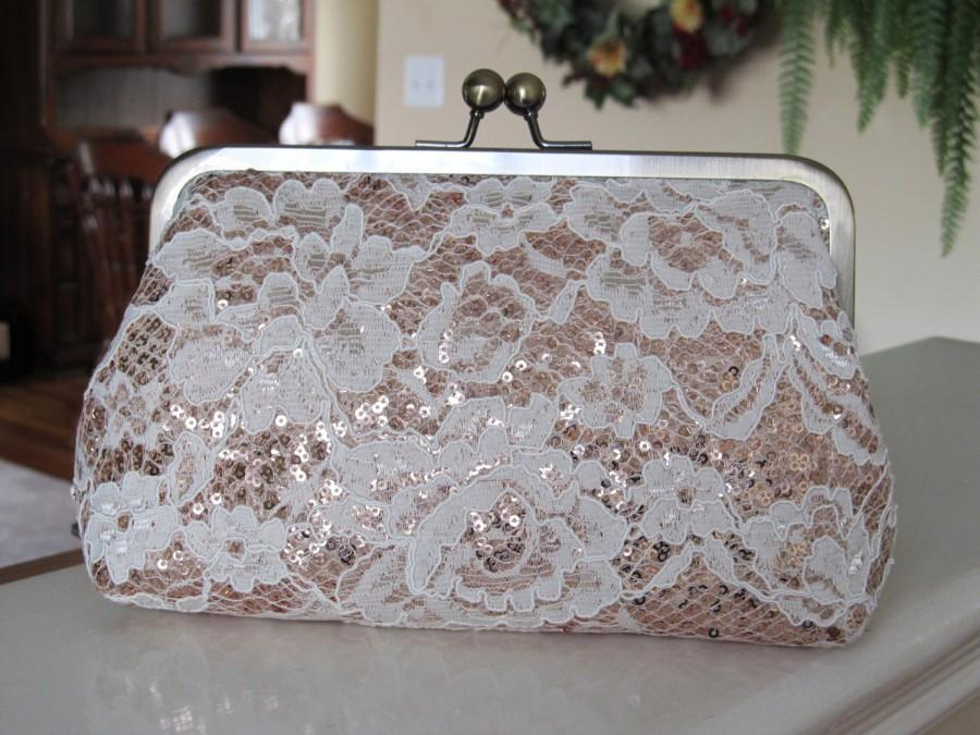 Свадьба - Ivory Chantilly Lace And Blush Sequin Clutch,Floral Lace Clutch,Bridal Accessories,Wedding Clutch,Bridal Clutch,Bags And Purses