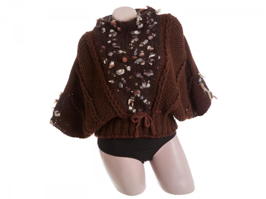 Chunky Knit Sweater Brown Womens Pullover Thick Sweater With Wide