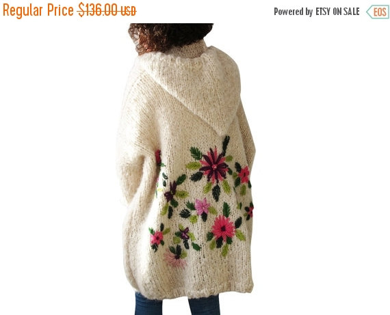 Wedding - 20% WINTER SALE Embriyodered Hand Knitted Wool Cardigan
