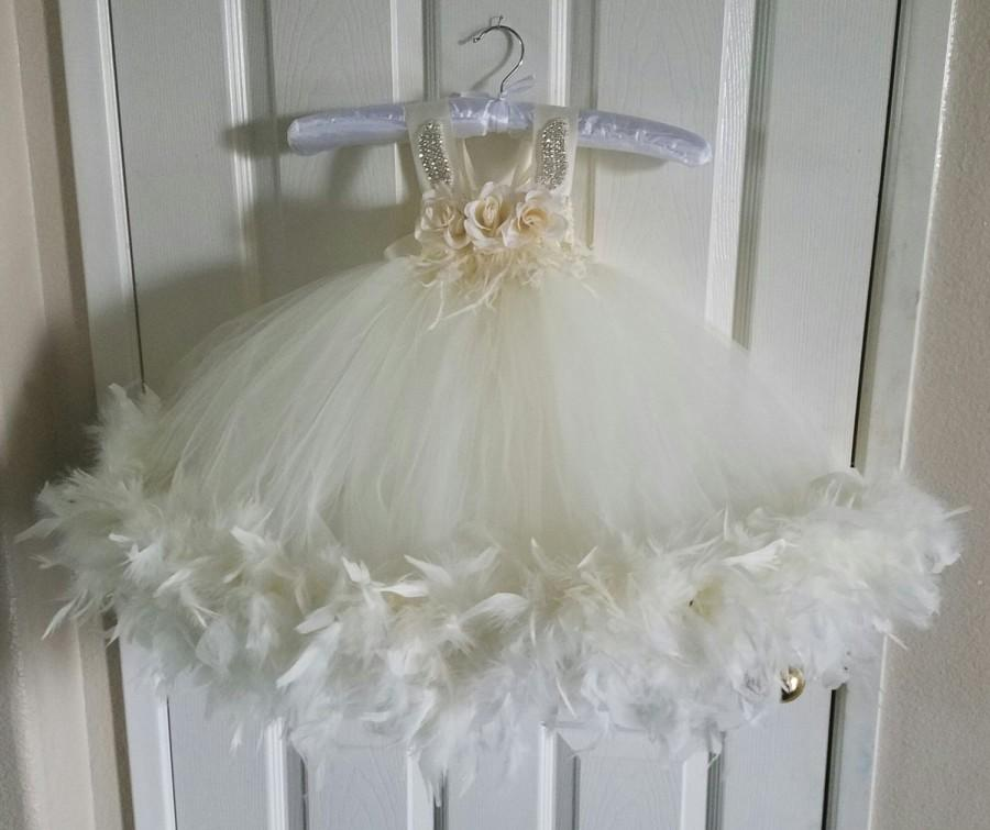 Wedding - Baby Christening Dress / Baby Confirmation Dress/ Baby Baptism Dress/ Flower Girl Tutu Dress / Flower Girl Dress / Infant White Tutu Dress