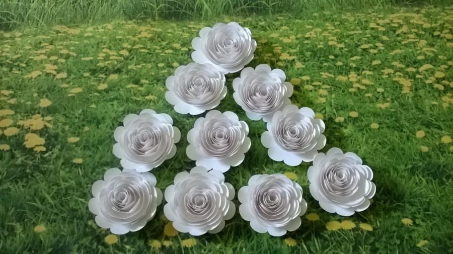 Big White Wedding Paper Flowers Set Of 10 Large Roses 3 Loose