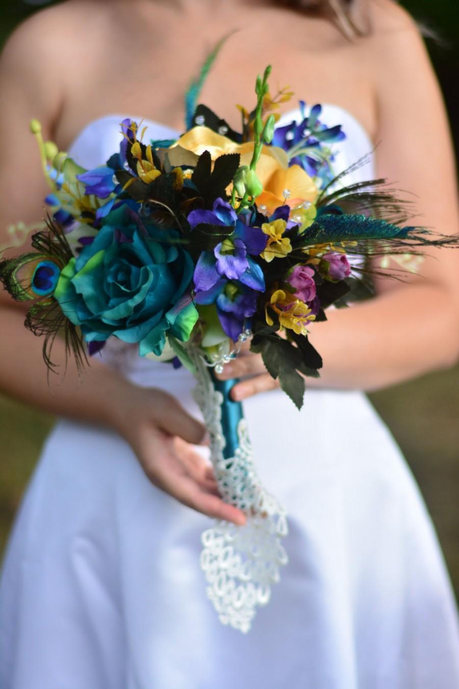 Свадьба - Peacock bouquet ~ Peacock wedding ~ Bridal bouquet ~ Peacock wedding flowers ~ Teal wedding ~ Teal bouquet ~ Feather wedding bouquet