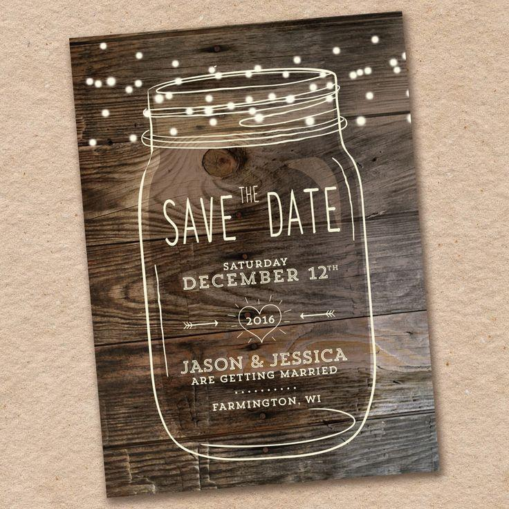 Wedding - Mason Jar Save The Date, Rustic Save The Date, Country Save The Date, Woodland Wedding, Design With Barnwood