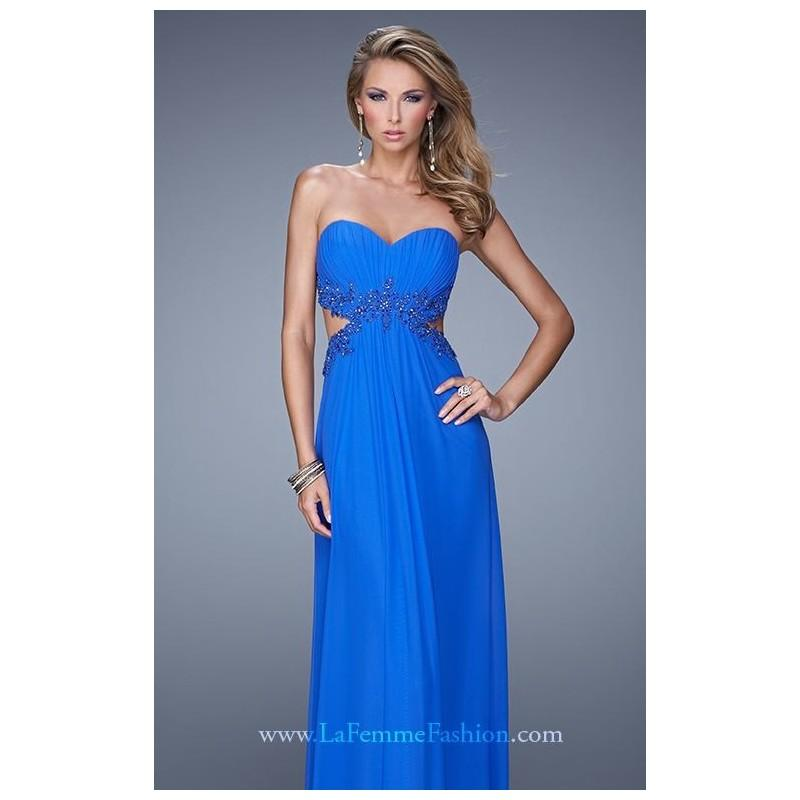 Свадьба - Electric Blue Beaded Lace Gown by La Femme - Color Your Classy Wardrobe