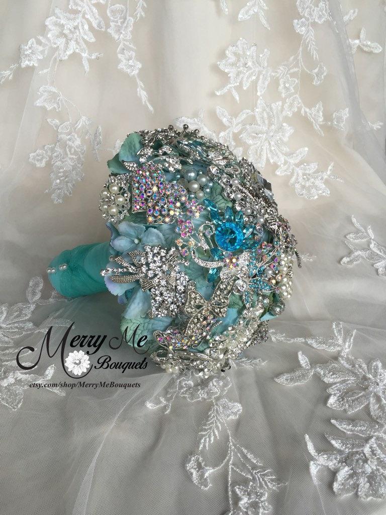Свадьба - Aqua Brooch Bouquet - Turquoise Brooch Bouquet - Crystal Bouquet - Light Blue Brooch Bouquet - Aqua Bouquet - Blue Brooch Bouquet - Aqua