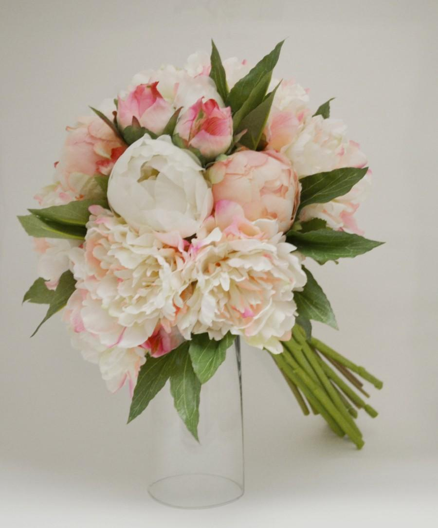 Silk Peony Bouquet Light Pink Peonies Shabby Chic Flowers Rustic Lace Bridesmaid Vintage Inspired