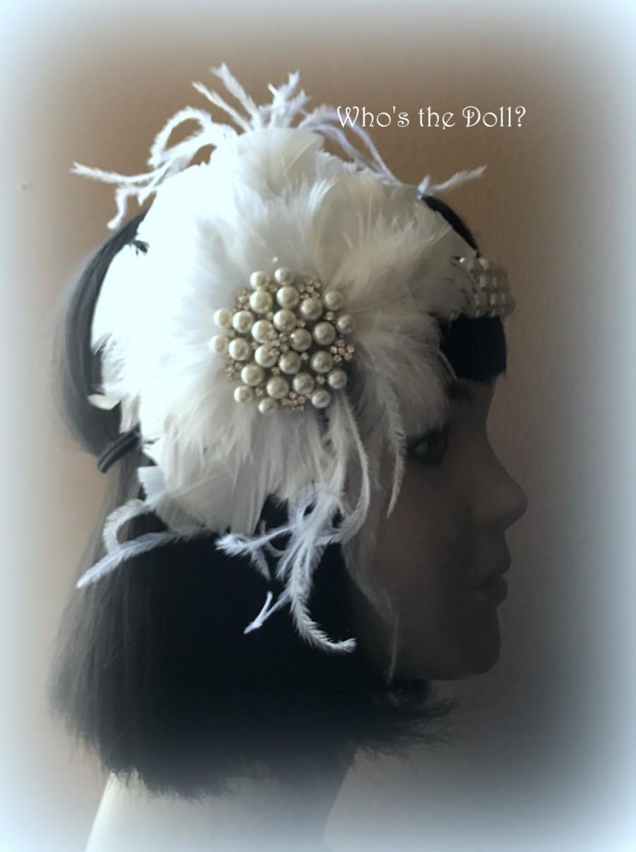 زفاف - Gatsby Headband/Flapper headband/1920s headband/Pearl headband/1920s accessories/1920s wedding/1920s party/Snowdrop