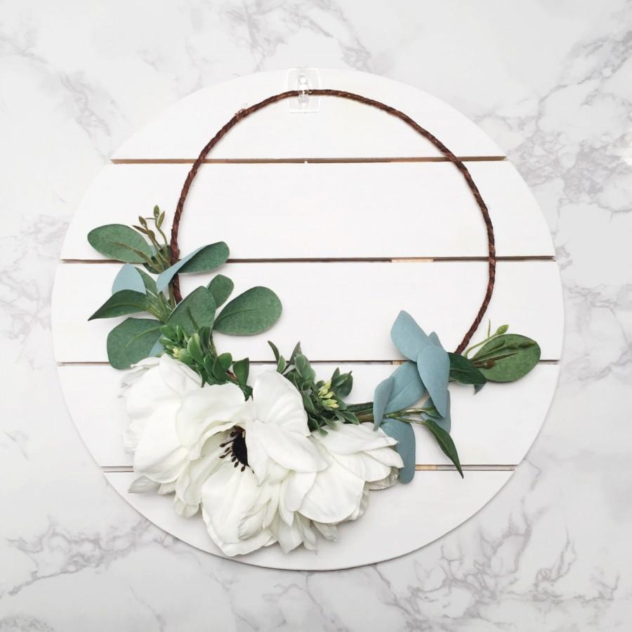 Seasonal White Anemone Eucalyptus Flower Crown Wedding Flower