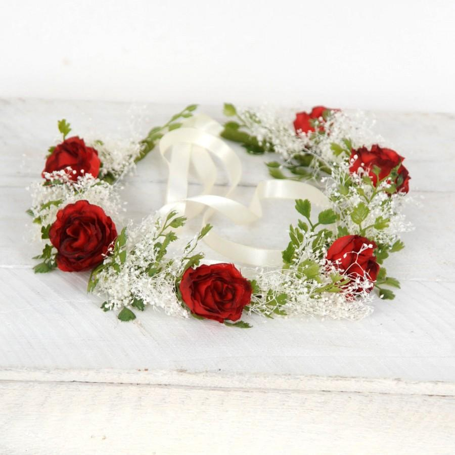 Flower crown holiday headpiece christmas headband red roses babys flower crown holiday headpiece christmas headband red roses babys breath wedding hair piece festive head wreath greenery floral bridal halo izmirmasajfo