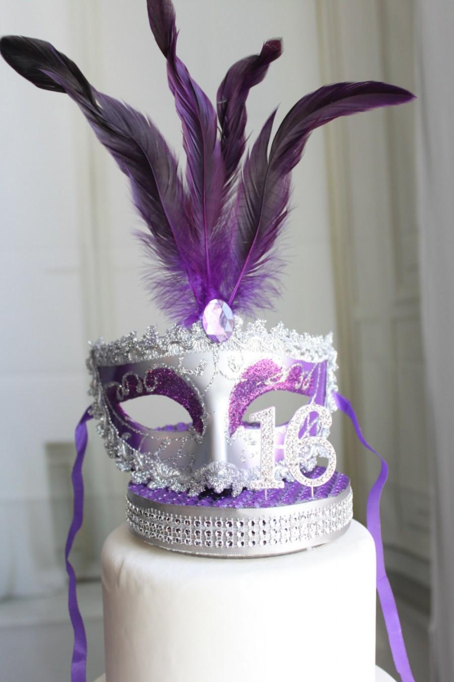 Свадьба - Masquerade, Mask, Rhinestone Sweet 16 Cake Topper Purple and Silver, Venetian, Carnival