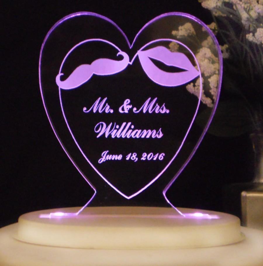 زفاف - Mr. & Mrs. Wedding Cake Topper - Moustache and Lips - Acrylic - Personalized - Light Option