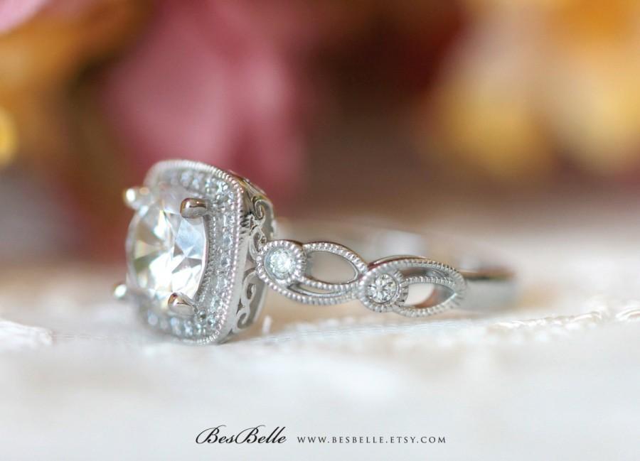 Свадьба - 1.80 ct.tw Leaf & Vine Art Deco Halo Engagement Ring-Brilliant Cut Diamond Simulants-Wedding Ring-Milgrain Ring-Solid Sterling Silver [4252]