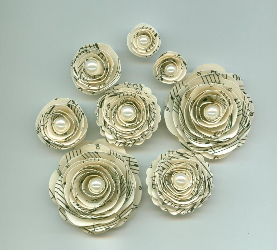 Свадьба - Music Note Rose Pearl Spiral Paper Flowers for Weddings, Bouquets, Events and Crafts