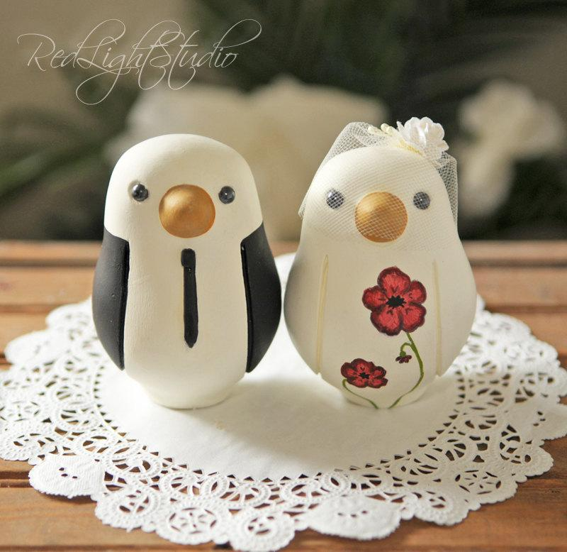 Свадьба - Custom Wedding Cake Topper - Large Hand Painted Love Birds with Painted Bouquet
