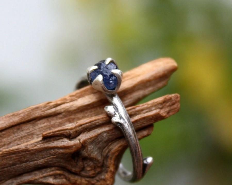 Свадьба - Sapphire raw gemstone twig ring-sterling silver handmade-natural rough uncut sapphire-September Birthstone ring-made to order.