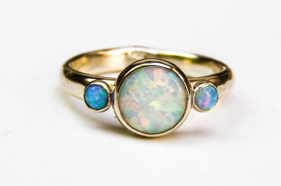 Hochzeit - Unique Engagement Ring,  Blue Opal Ring,14k gold ring , Wedding Ring, White opal rings, Anniversary Ring, Hammerd gold, gift for her