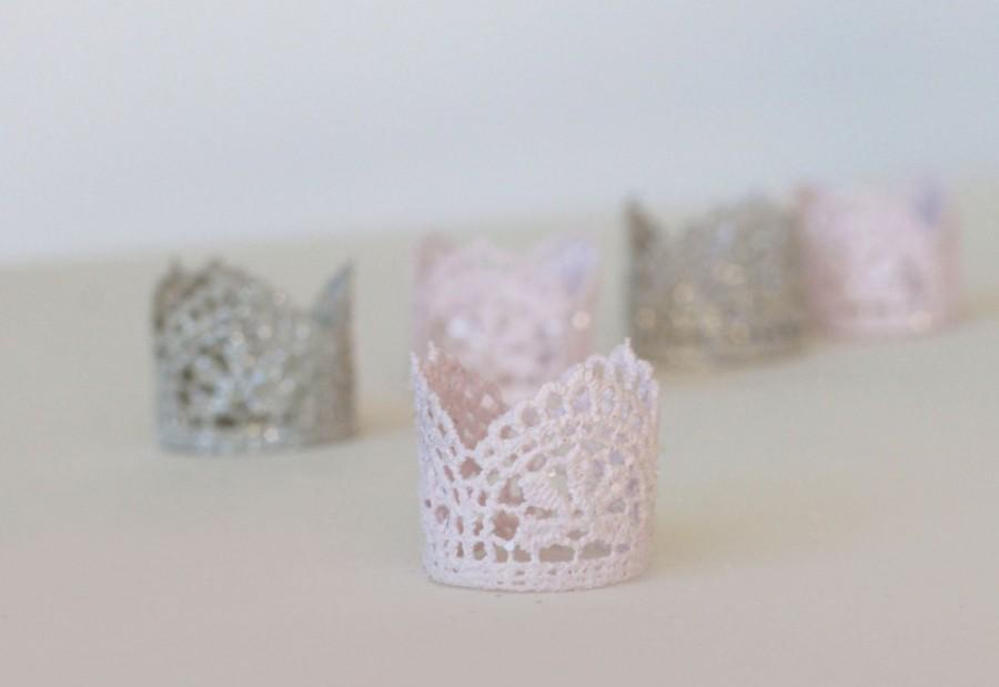"""Mariage - NEW lilac and gray crown cupcake toppers,  """"Audrey"""",  girl baby shower, princess party, mini lace crown,  birthday party, lilac baby shower"""