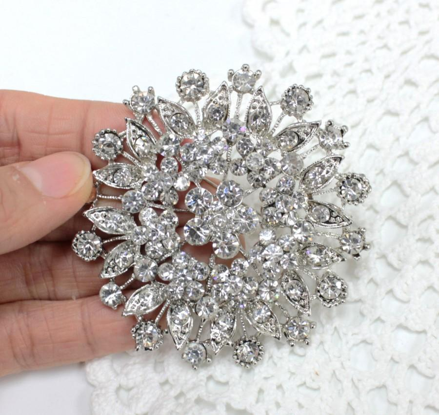 Mariage - 68 x 68mm Large Crystal Clear Rhinestone Wedding Silver Wedding Brooch Rhinestone Monogram Cake Topper DIY Wedding Brooch Bouquet Gift