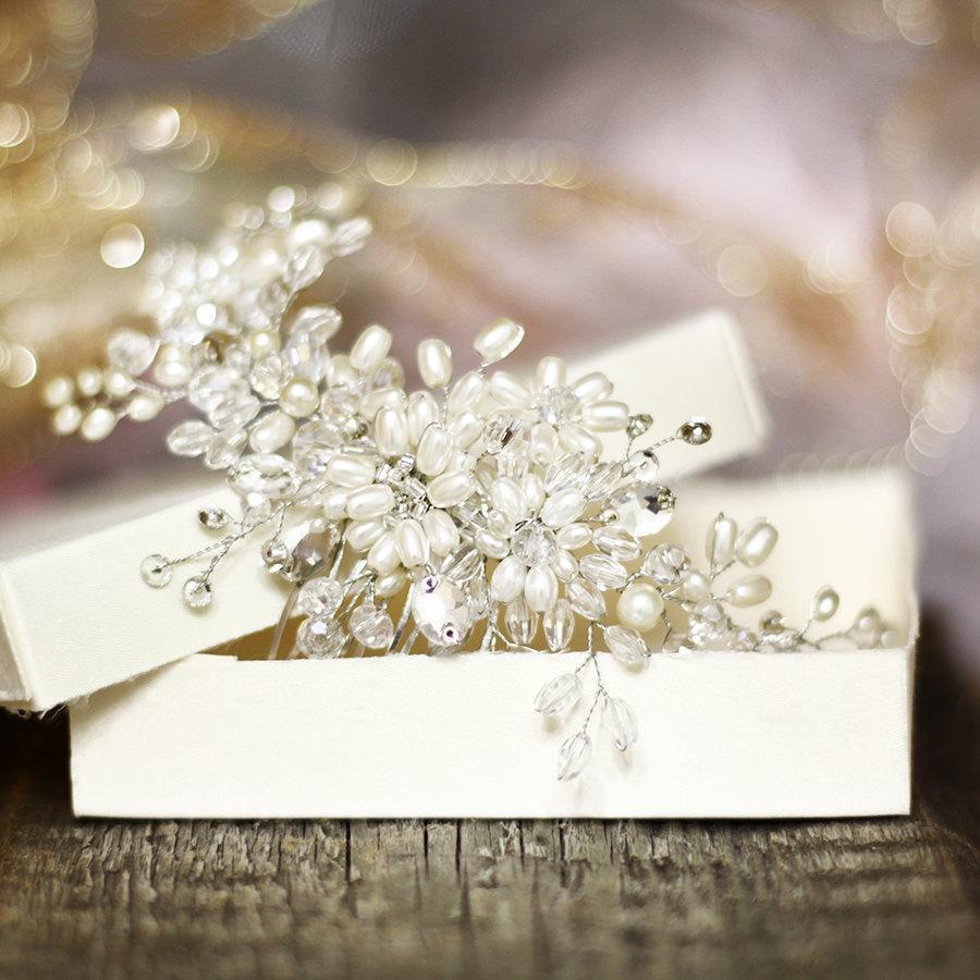 زفاف - Bridal hair comb. Crystalsal and Pearl bridal hair comb. Pearl comb. Wedding hair comb. Bridal Headpiece. Pearl bridal hair comb.