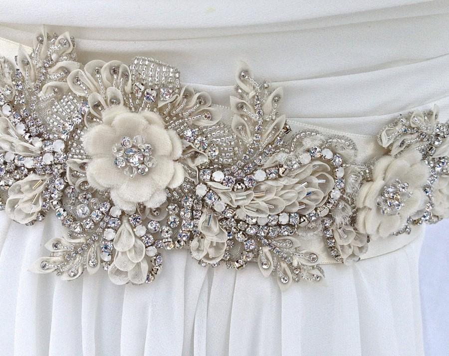 Ivory beaded bridal sash wedding sash with crystals for Wedding dress sashes with crystals