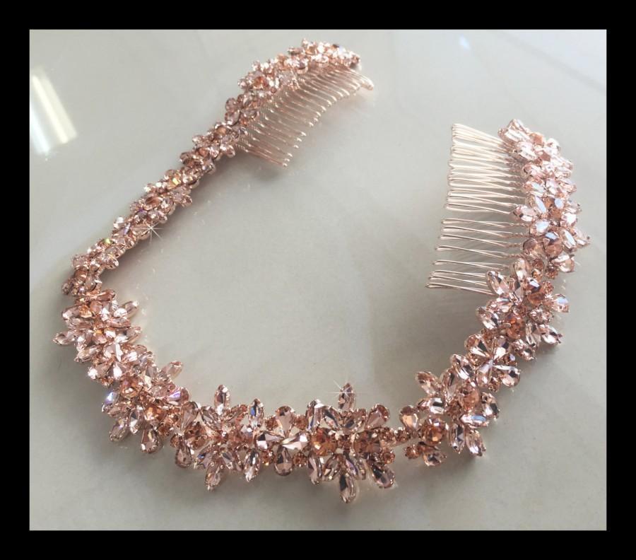 Hochzeit - Rose Gold Bridal Crystal Headband, Bridal Forehead Band, Rhinestone Headband