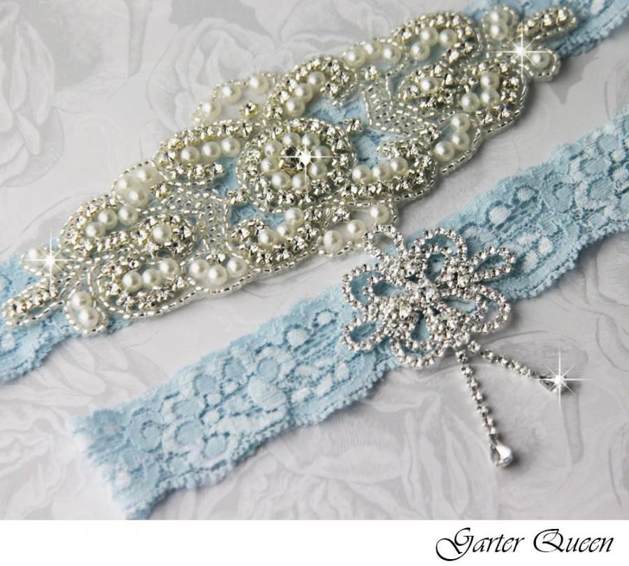 Mariage - High Quality Bridal Garter Set, Something Blue garter, Wedding Garter, Wedding Garter Set, Rhinestone Garter, Vintage Garters