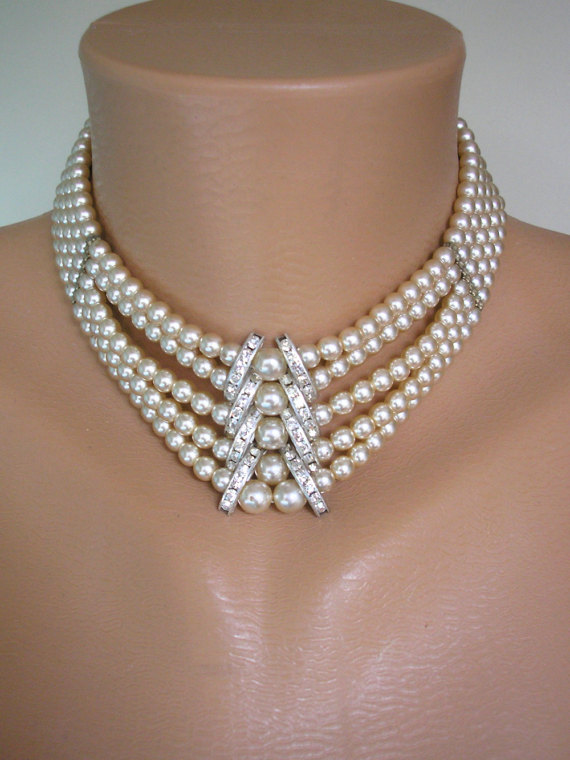 Mariage - Pearl Choker, Pearl Necklace, Mother of the Bride, Great Gatsby Jewelry, Art Deco, Wedding Necklace, Bridal Choker, 5 Strand, Downton Abbey