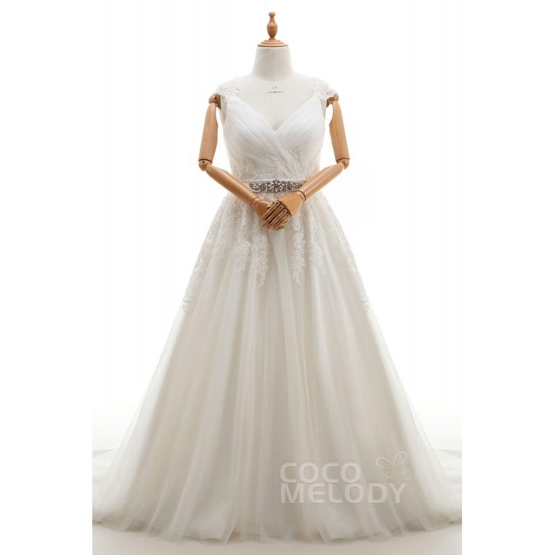 Hochzeit - Luxurious A-Line V-Neck Natural Court Train Tulle Ivory Sleeveless Zipper With Buttons Plus Size Wedding Dress Appliques Sashes - Top Designer Wedding Online-Shop