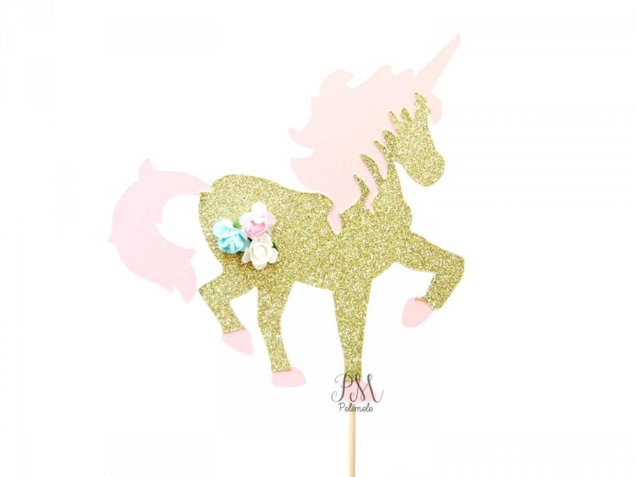 Pink Gold Floral Glitter Unicorn Cake Topper First Birthday Toppers Fairy Tale Party