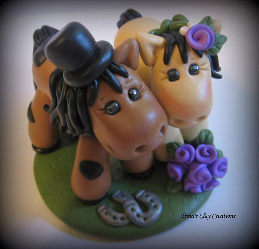 Hochzeit - Wedding Cake Topper, Horse, Animal, Pony - Custom Polymer Clay Personalized Wedding/Anniversary Keepsake