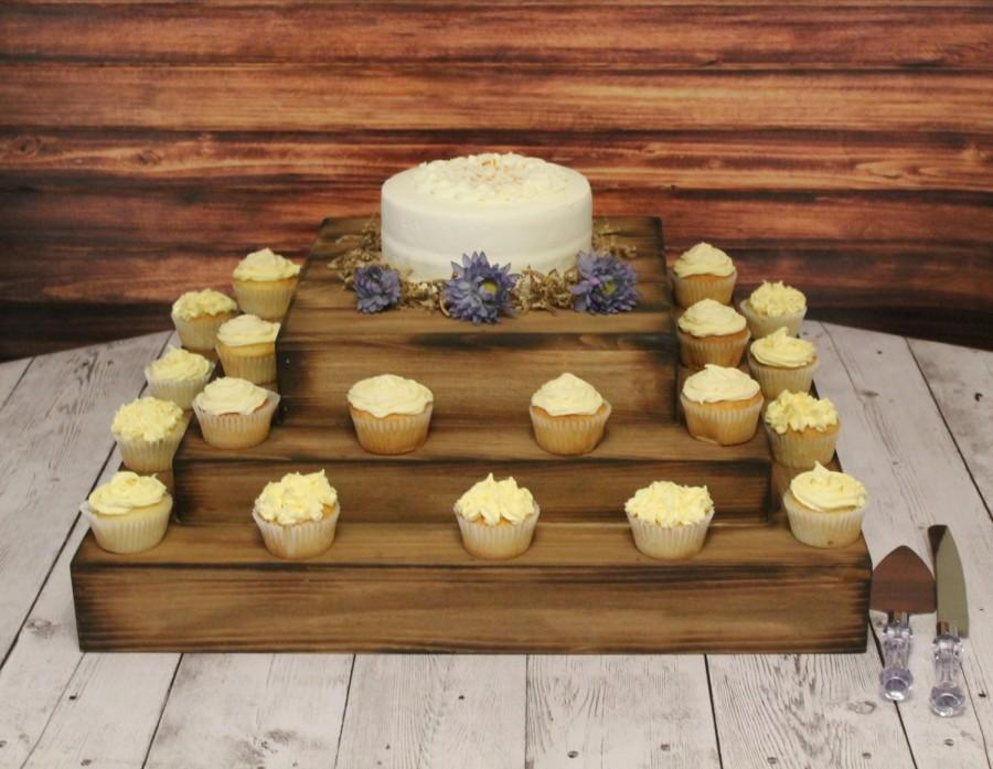 Mariage - Wedding Wooden Cake and Cupcake Stand Square Riser Bases woodland Barn Wood Country Rustic display Cake stand for cake or cupcake
