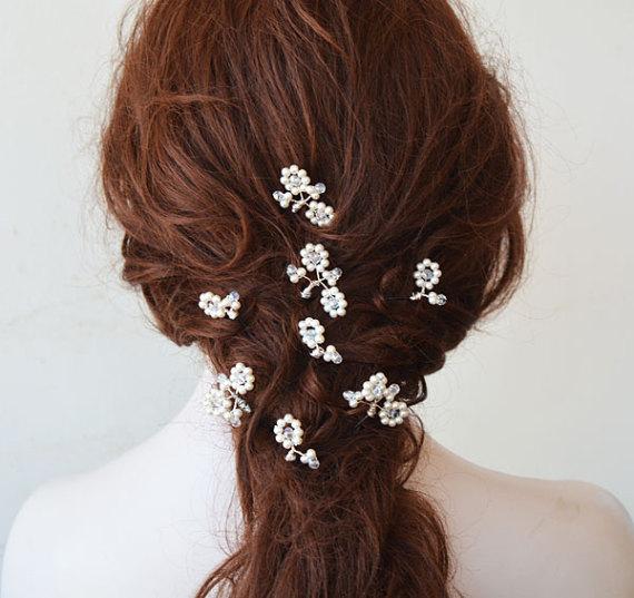 Wedding - Bridal Pearl Hair pins, Hair Pins, Wedding Hair Pins Pearl, Wedding Accessories, Hair Accessories, Set of 8 Pearl Hair Pins, Hair Pins