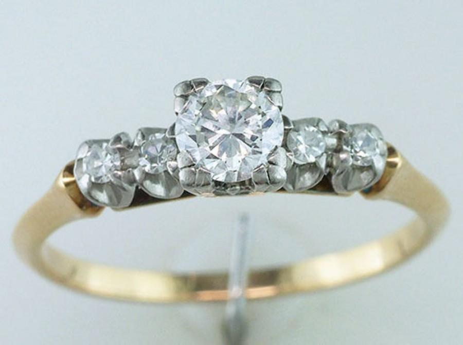 Wedding - Vintage Antique 1/2ct Diamond 14K Gold Art Deco Engagement Wedding Ring
